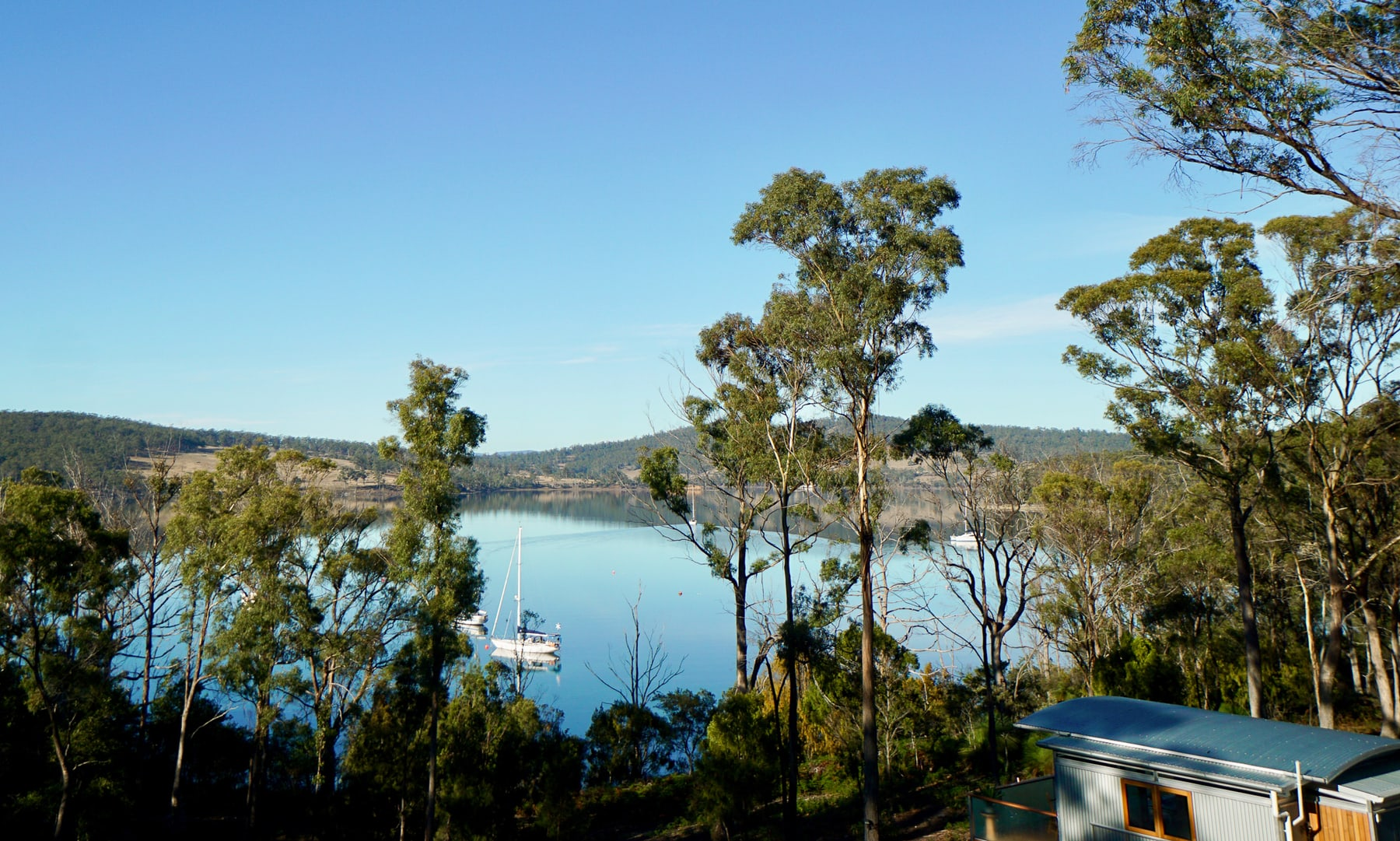 view from behind our Bruny Island Accommodation