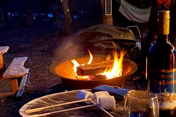Wine-Around-the-Fire-Pit-Bruny-Island-Accommodation-Package-Tasmania---Free-Spirit-Pods